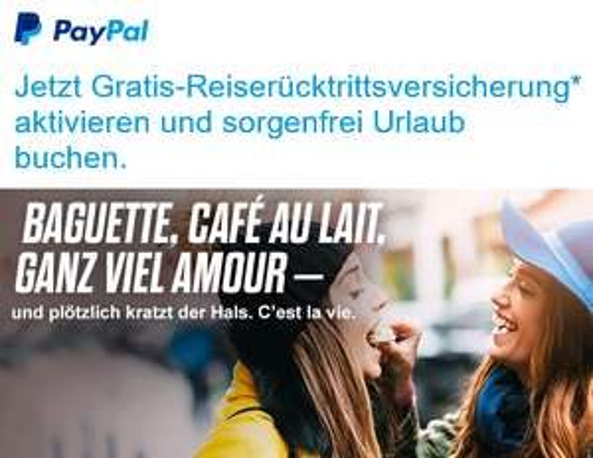 Kostenlose Reiserückstrittsversicherung bei PayPal