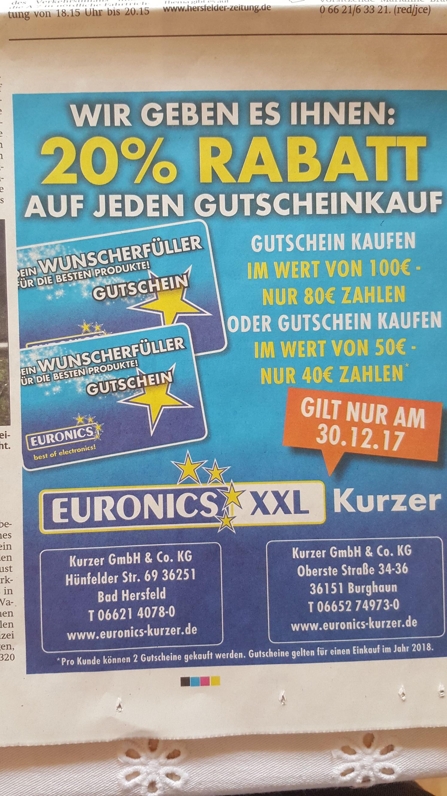 Lokal  20% Rabatt auf Gutscheine bei Euronics XXL Kurzer