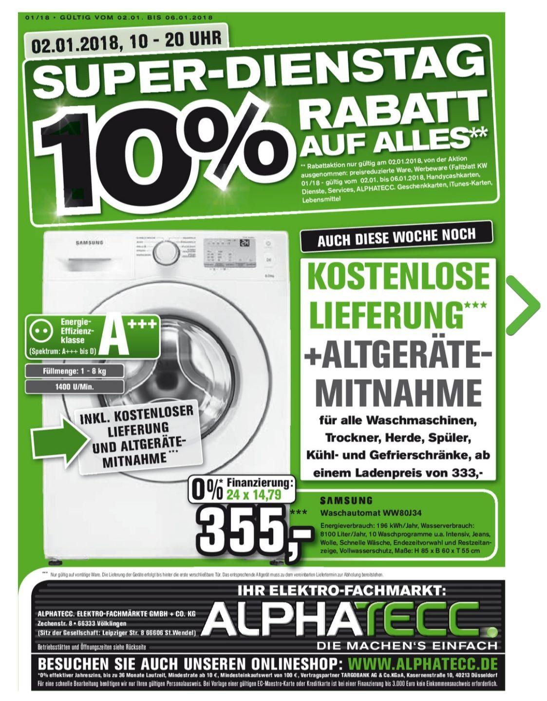 10 % auf (fast) ALLES am 02.01.18 , ALPHATECC [lokal] + kostenlose Lieferung Haushaltsgeräte ab 333€