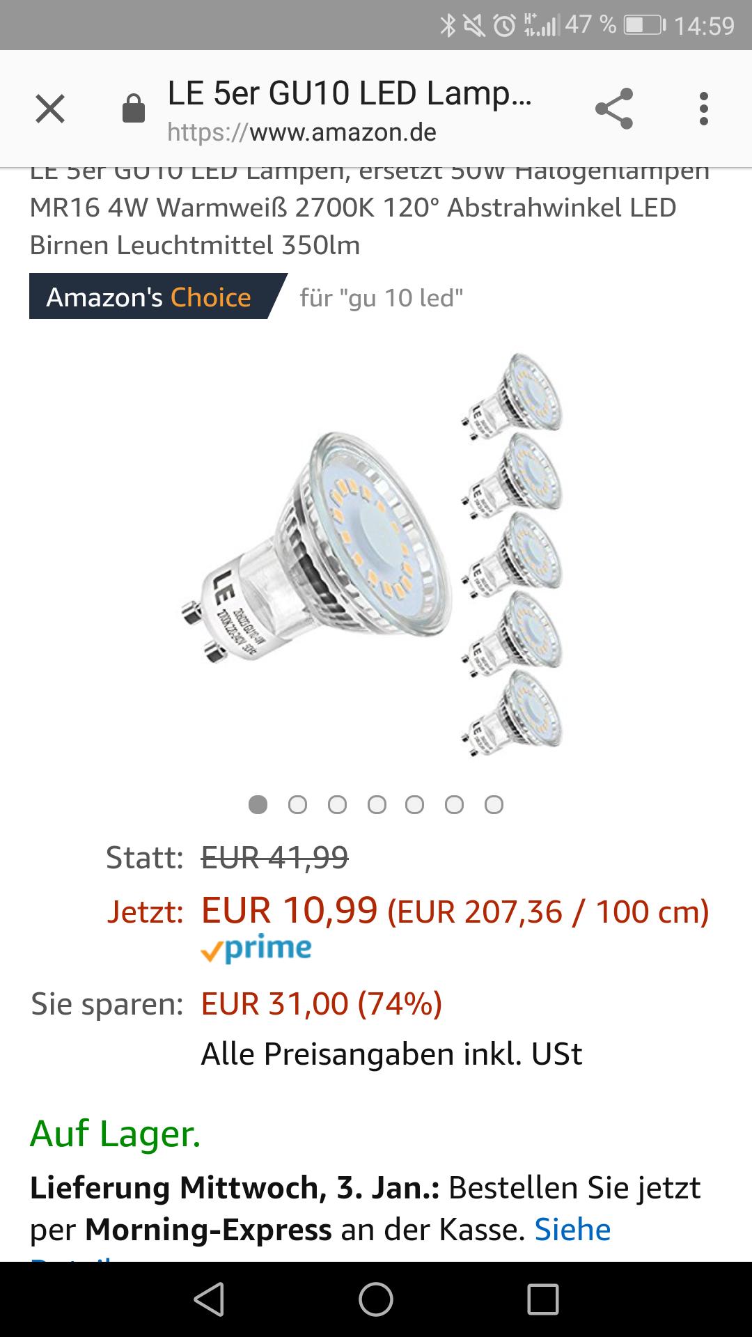 LE 5er GU10 LED Lampen, ersetzt 50W Halogenlampen MR16 4W Warmweiß 2700K