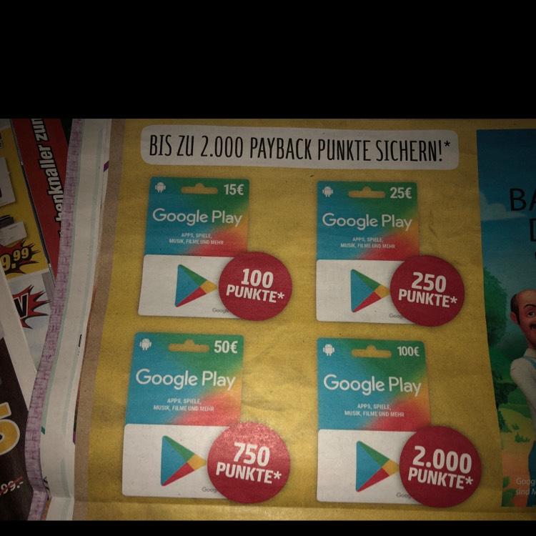 [REWE] Google Play Guthaben mit bis zu 20% Cashback über Payback