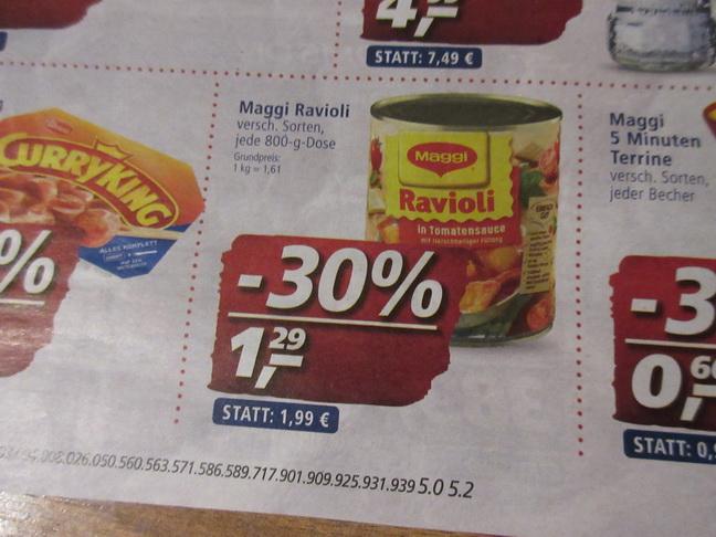 REAL - Ravioli 8 x kaufen Maggi Coupon  =    eff . 1,04 je Dose