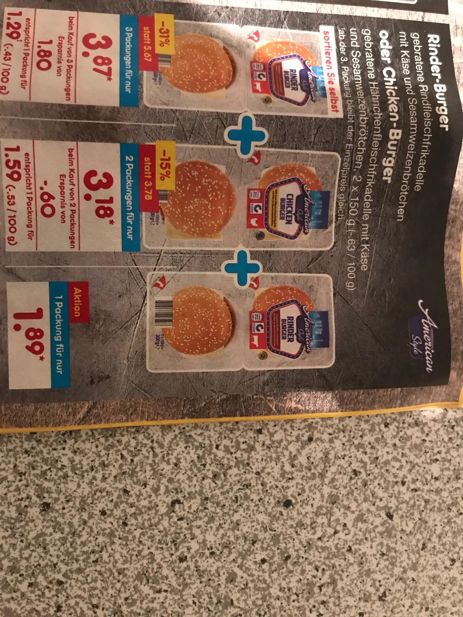 3 Packungen Rinder-Burger oder Chicken-Burger beim Netto-Marken-Discount für 3,87 Euro