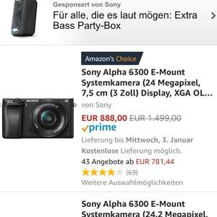 Sony Alpha 6300 inkl. Kit 16-50mm