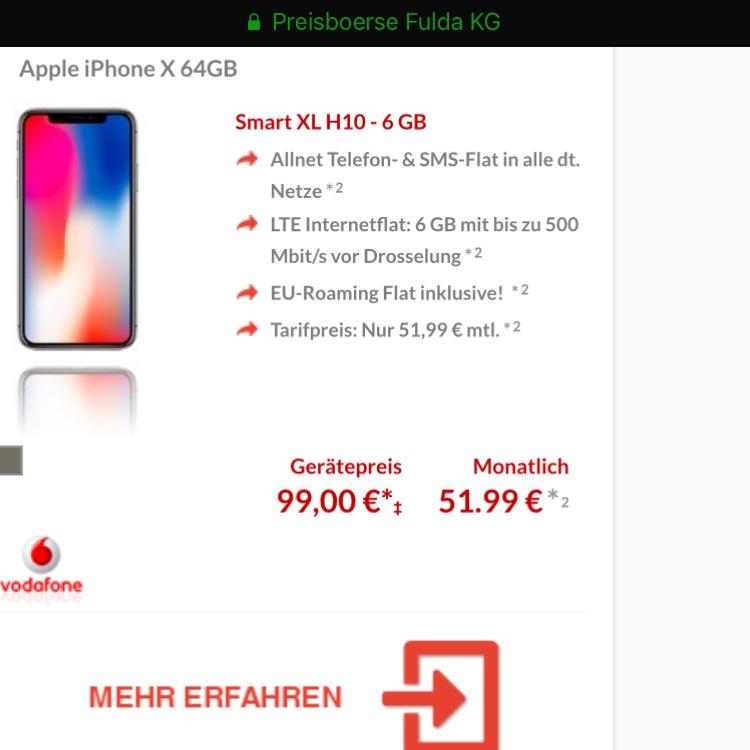 IPhone X 64GB - Vodafone - 6GB LTE - 24 Monate Smart XL Tarif