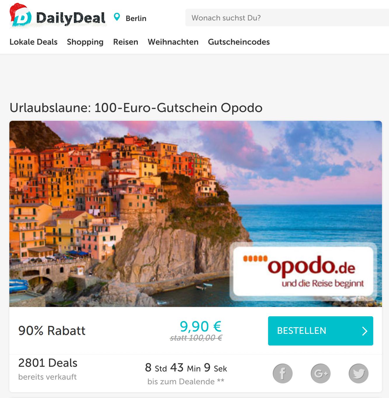 [Dailydeal] Opodo-Gutschein für Pauschalreisen: 100 Euro Wert für 9,90 Euro (400 € MBW)