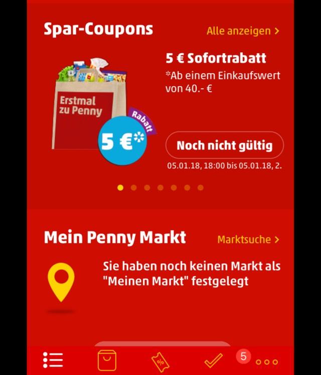 Penny 5 EUR-Gutschein ab 40 EUR Einkaufswert in der Penny App