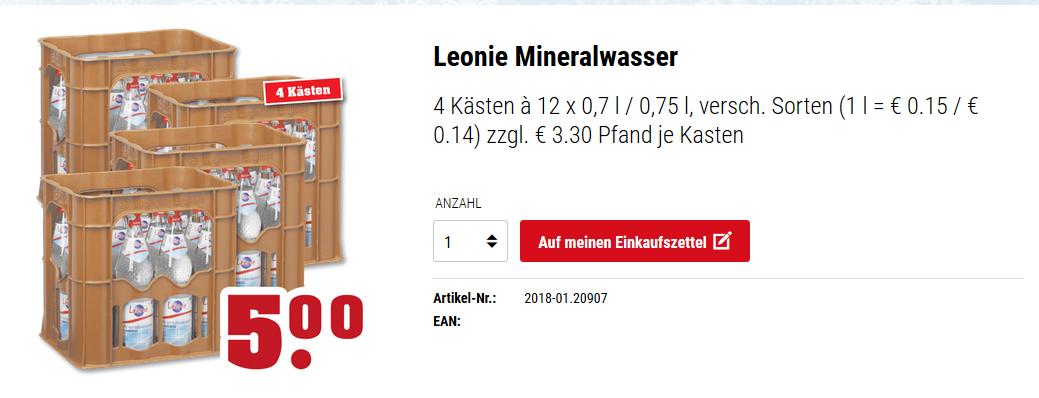 [LOKAL] TrinkGut Region Leonie Mineralwasser 4 x 1,25€