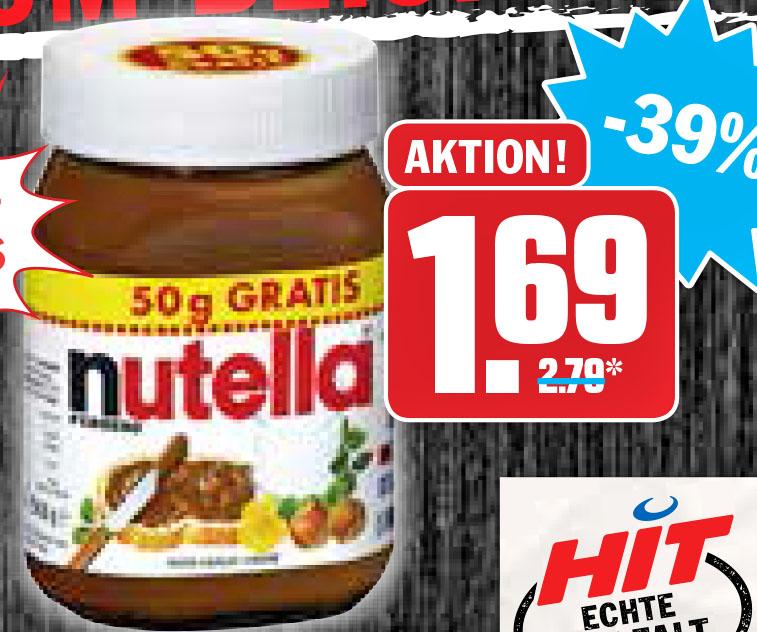 Nutella 500g für nur 1,69€ = 3,38 €/kg @Hit