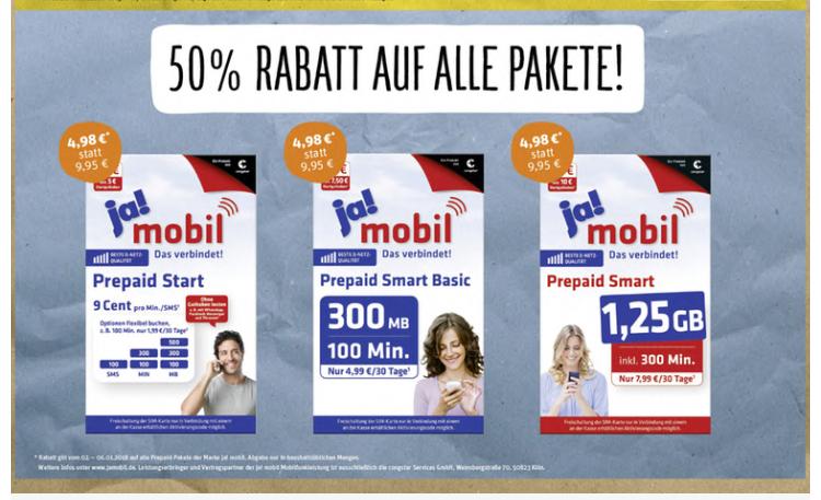 [REWE offline] 50% Rabatt auf Ja! Mobil Prepaid Starterpakete (KW3-2018)