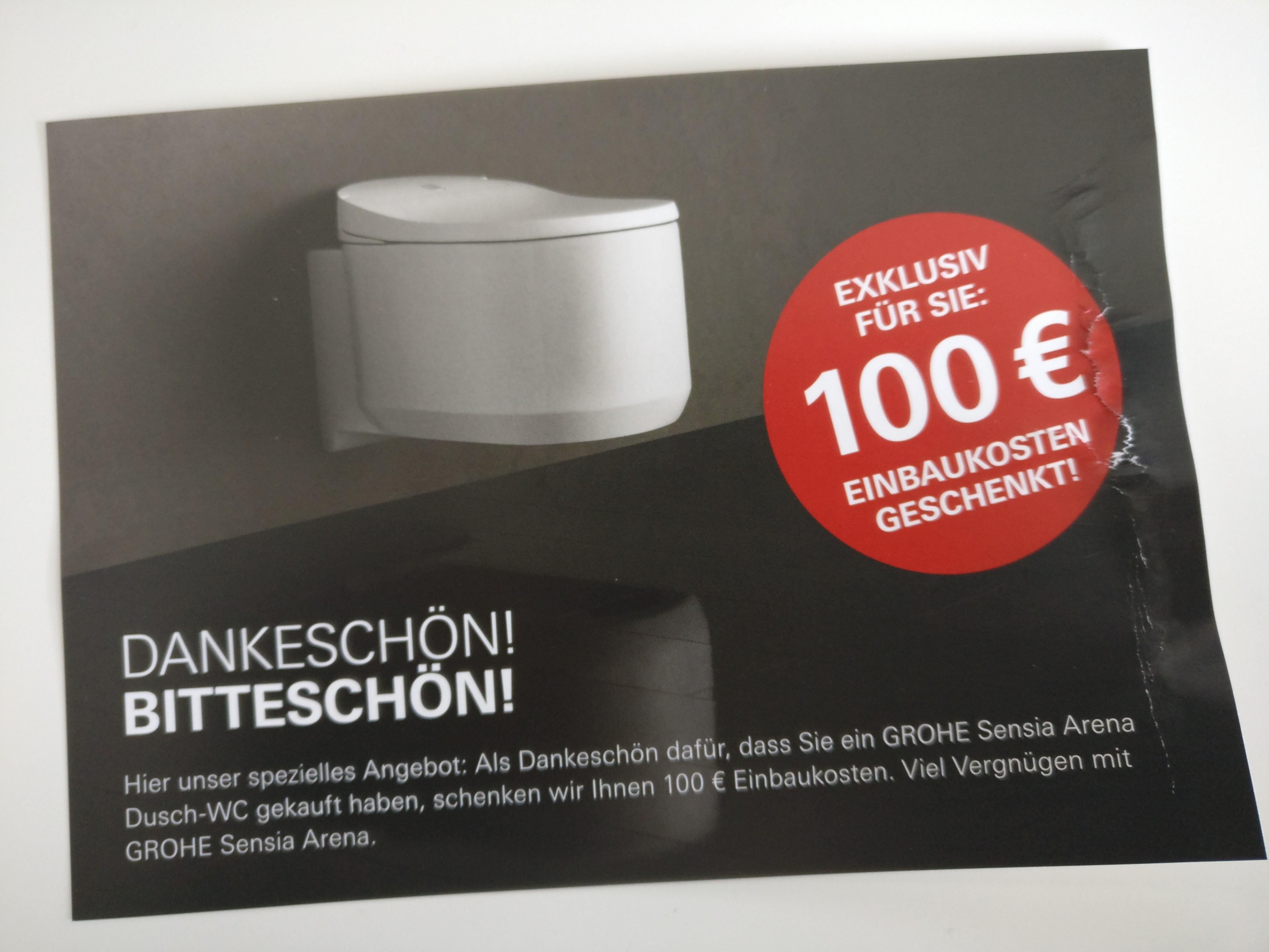 100€ (Einbaukosten-)Cashback bei GROHE Sensia Arena Dusch-WC [Gästeklo Deal]