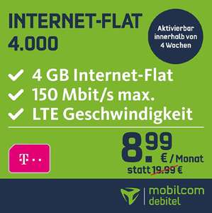 [Amazon + MobilcomDebitel] Datenflat 4GB LTE 150MBits im Telekom Netz