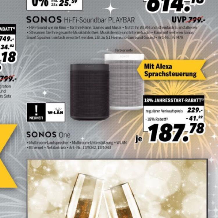 Sonos ONE 187,78€ bei Medimax
