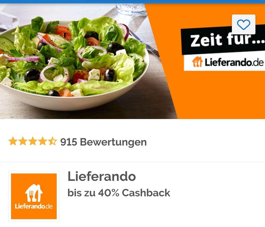 [Shoop.de] 40% Cashback bei Lieferando.de nur heute am 01.01.