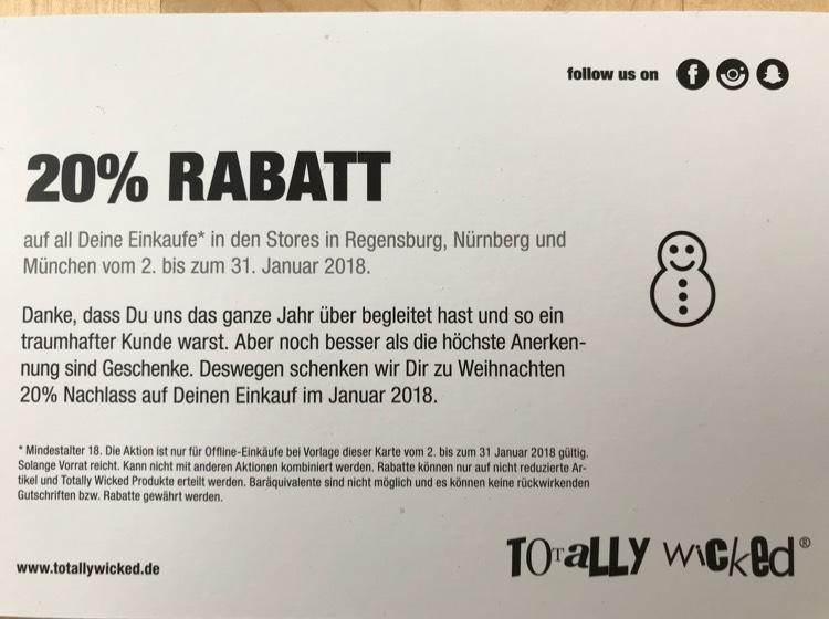 [Totally Wicked] 20% auf alles in Regensburg, Nürnberg und München