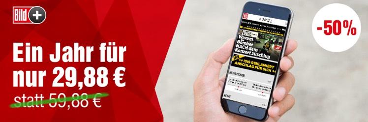 BILDplus Digital Jahresabo für 29,88€ (statt 59,88€)