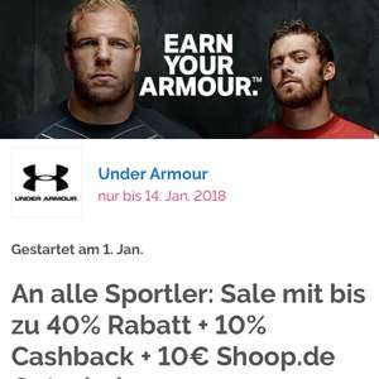 [Shoop][Under Armour] 10% Cashback  + zusätzlich 10€ Gutschein