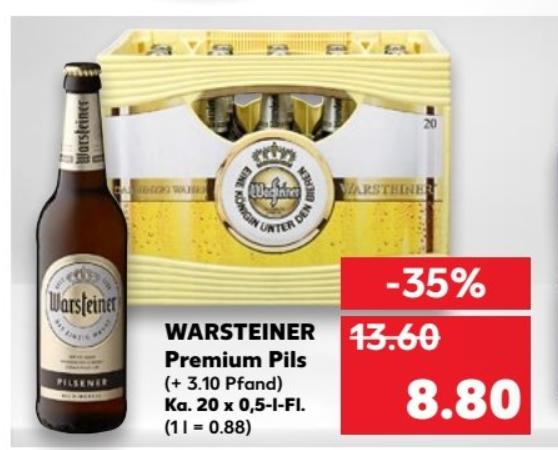 (Bundesweit)Kaufland:  Kasten Warsteiner für 8,80€ ab 04.01.18
