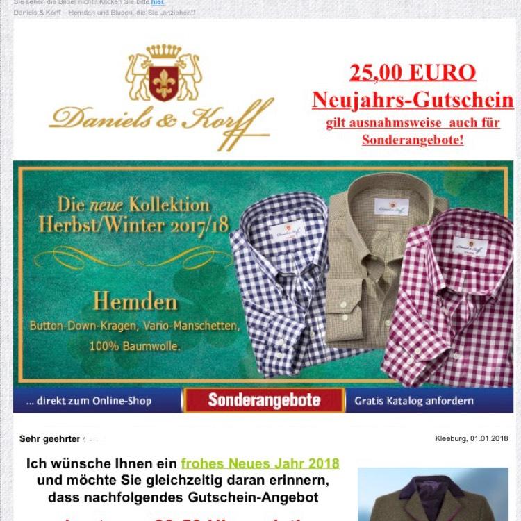 [daniels&korff] 25,00-EURO-Neujahrs-Gutschein bei 75 Euro MBW - auch Sonderangebote!
