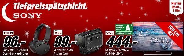 Sony Tiefpreisspätschicht bei Media Markt, z.B. Sony KD55XE7005 4K LED-TV für 679€ oder Sony Smartband SWR12 für 35€