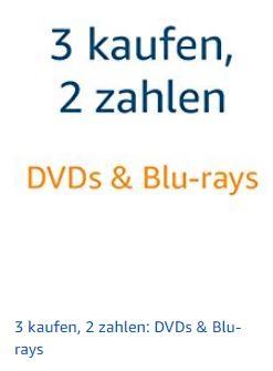 Neue 3 für 2 Aktion bei AMAZON auf DVDs & Blu-Rays
