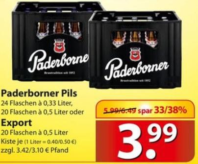 Kasten Paderborner Pils für 3,99€ @ famila Nordost