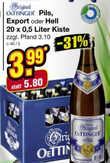 Wieder da: Oettinger Pils, Helles oder Export im Netto für 3,99€
