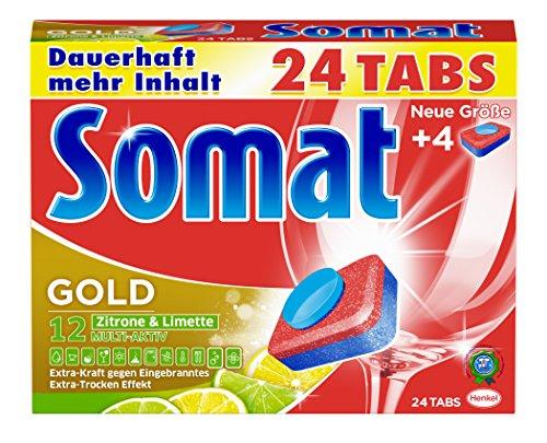 [Amazon Plus Produkt] Somat Tabs 12 Gold Zitrone und Limette, 2er Pack (2 x 480 g) Testsieger Stiftung Warentest 2017