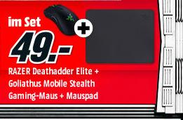 Razer DeathAdder Elite Gaming-Maus (16000dpi, Omron-Taster) + Razer Goliathus Mobile Stealth Mauspad & Dreamhack Tagesticket für 49€ versandkostenfrei (Media Markt)