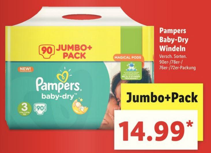 Pampers Baby Dry Gr. 3, 4, 4+ und 5 im Jumbo Pack mit Gutschein sogar nur 11,99€ @Lidl (offline)