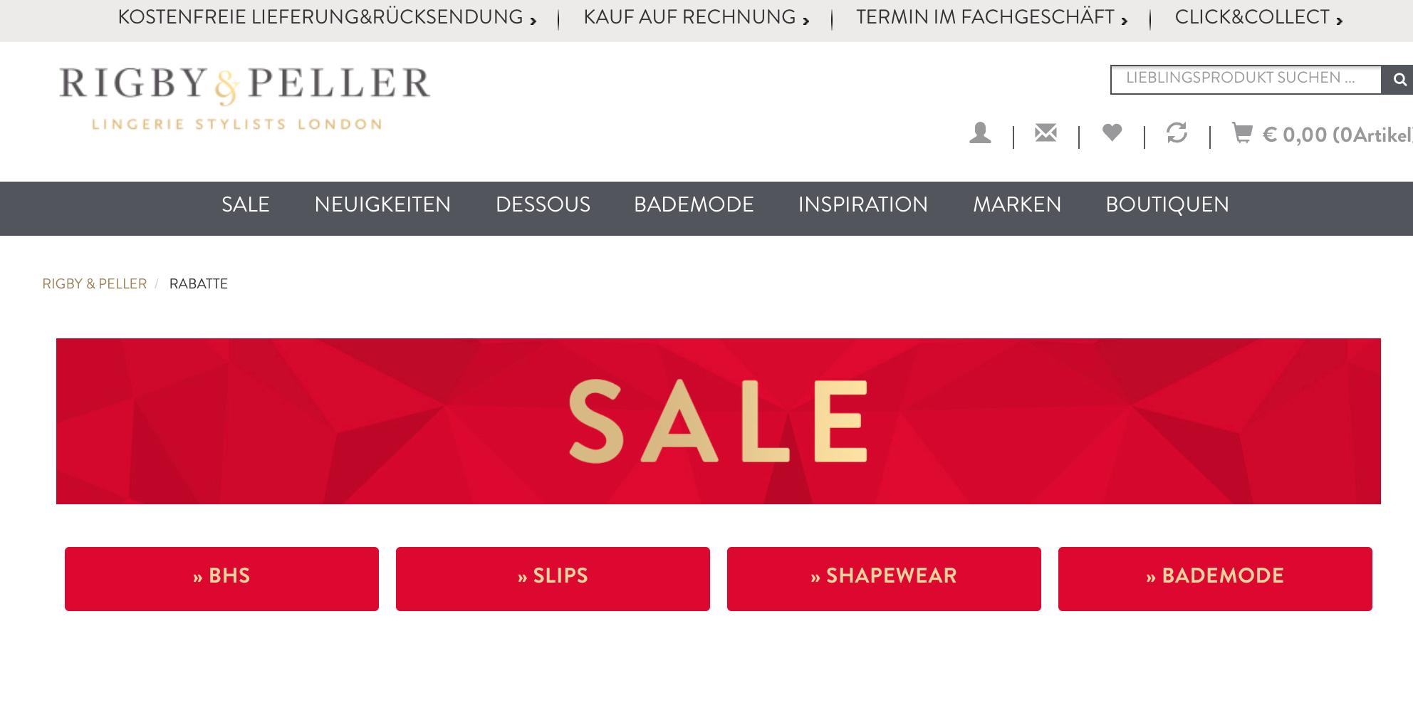 Sale bei Rigby & Peller: hochwertige Unterwäsche und Dessous z.B. Marie Jo