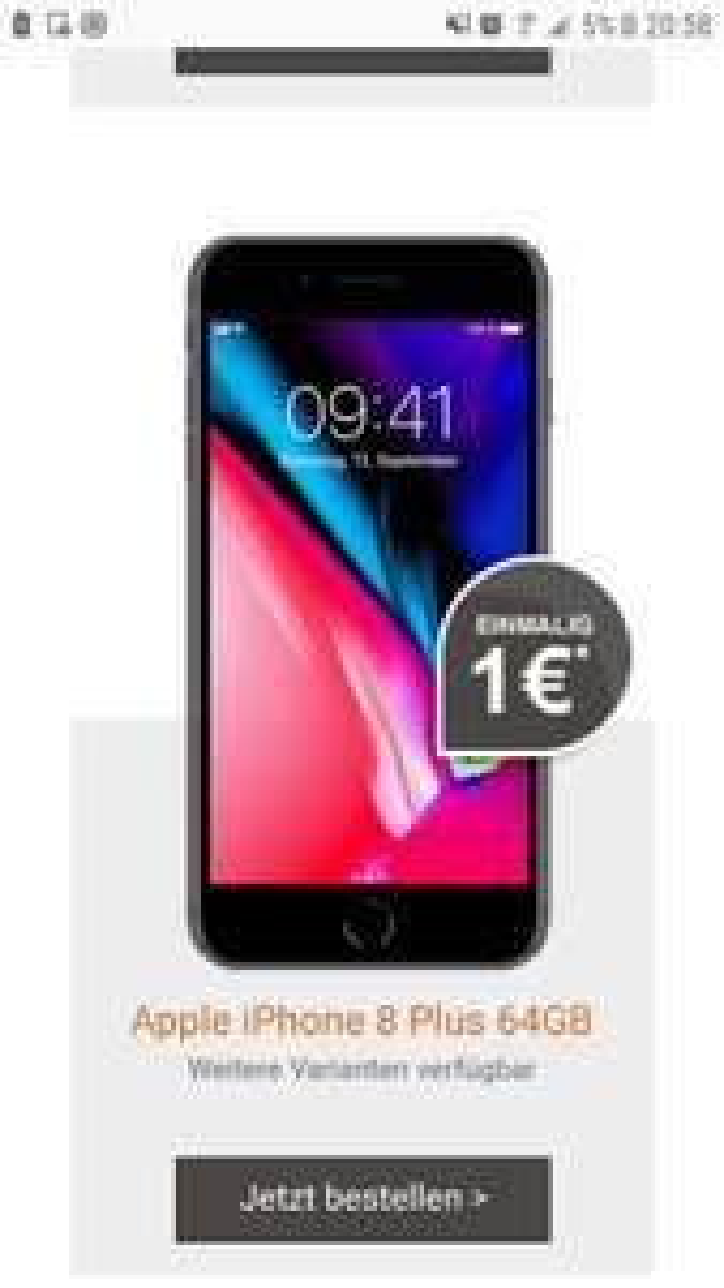 Iphone 8 Plus 64gb, mit Vodafone Smart XL Vertrag (allnet Flat, 6gb LTE Max) über Logitel