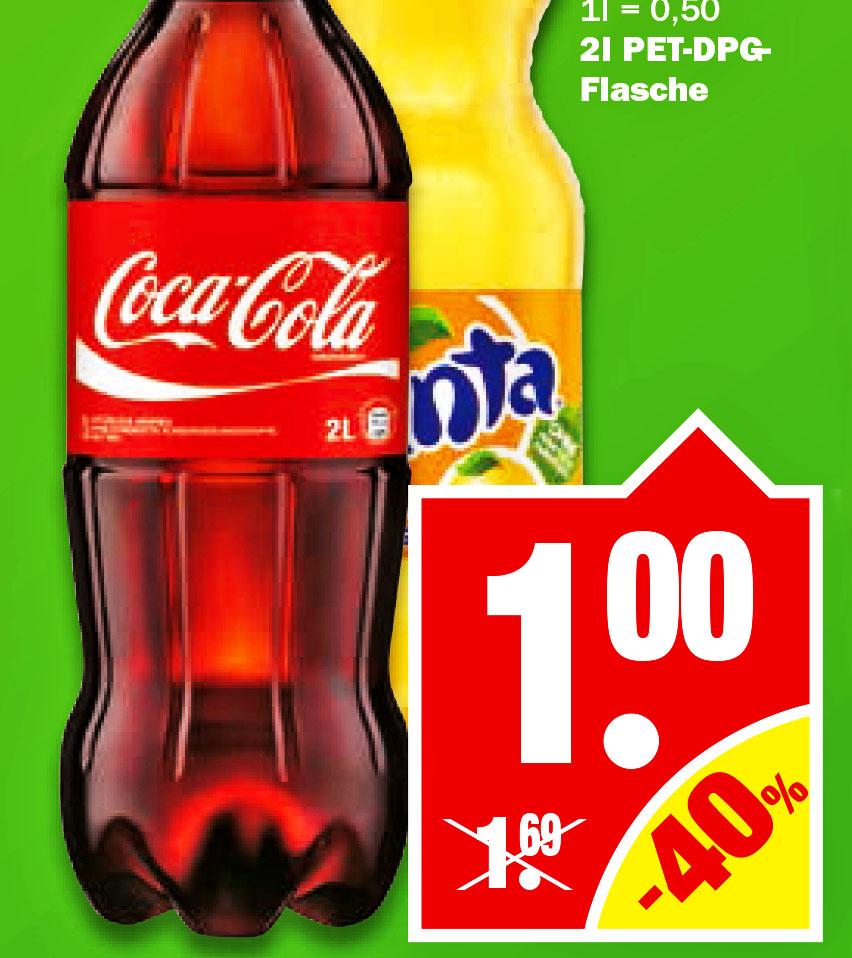 Coca Cola / Fanta / Sprite, 2 Liter für nur 1,- € [NP Discount]