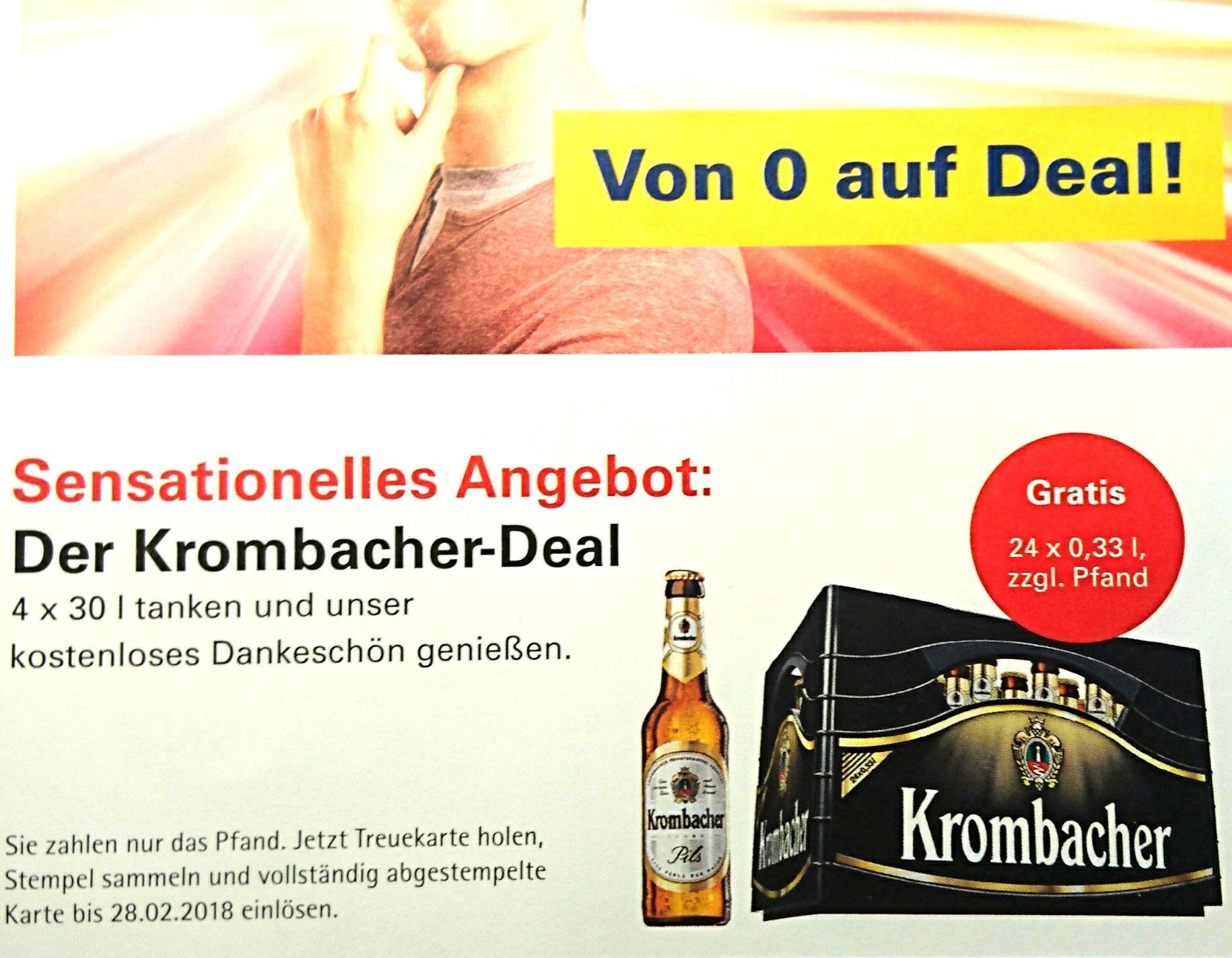 Der Krombacher-Deal: 4 x 30 Liter bei Westfalen tanken: eine Kiste Krombacher gratis! (Evtl. nur in Coesfeld)