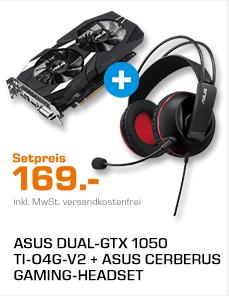 ASUS DUAL-GTX 1050 TI-O4G-V2 ( NVIDIA Grafikkarte) + ASUS Gaming-Headset für 169€ [Saturn]