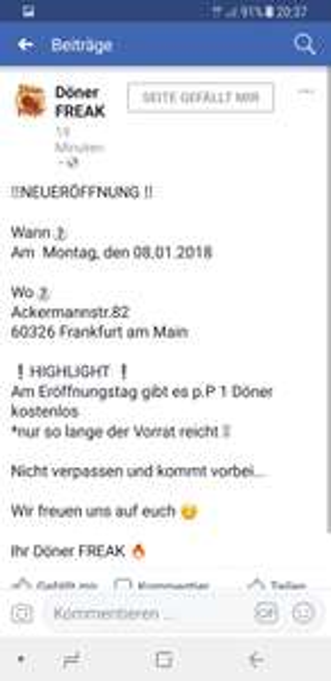 Döner in Frankfurt am main gratis Pp.  NEUERÖFFNUNG