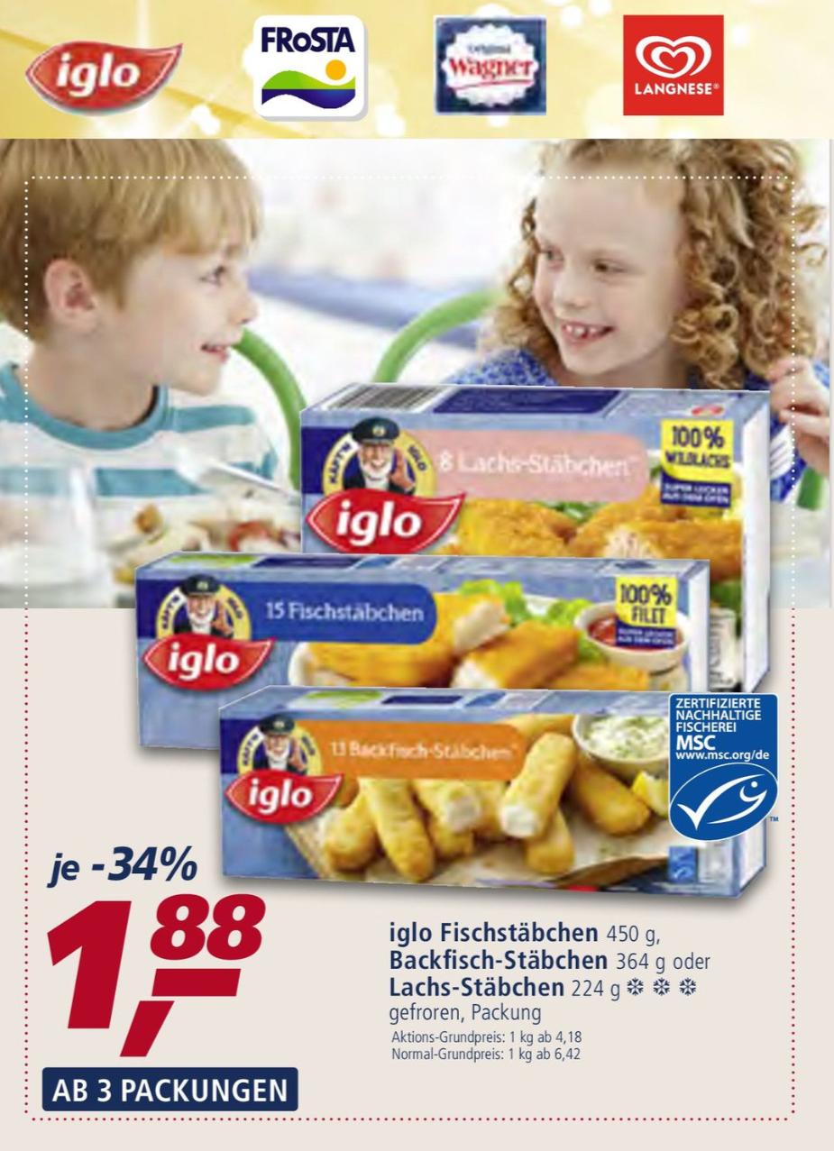 Real ab 3 Packungen 5,64€ 1 Packung 1,88€ Iglo Fischstäbchen, Backfisch-Stäbchen, Lachs-Stäbchen