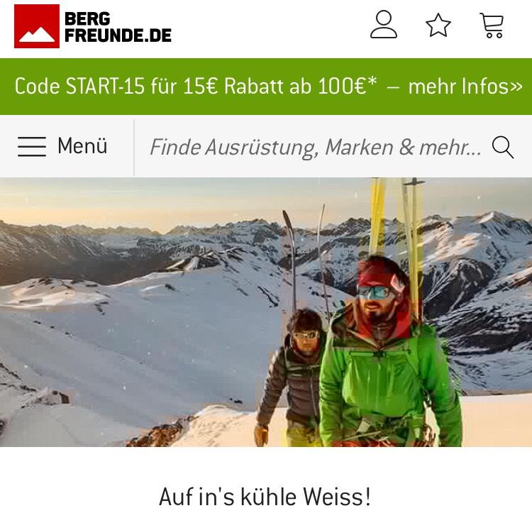 [Bergfreunde] 15€ Rabatt ab 100€ MBW