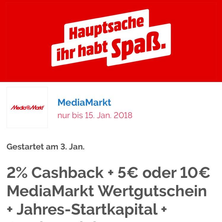 [Shoop][Media Markt] Wieder 2% Cashback + 5€ oder 10€ Gutscheine + bis zu 500€