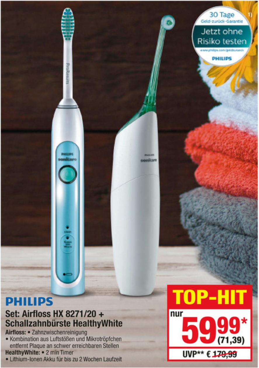 [Metro] Philips Set Sonicare Airfloss HX8271/20 + Schallzahnbürste HealthyWhite
