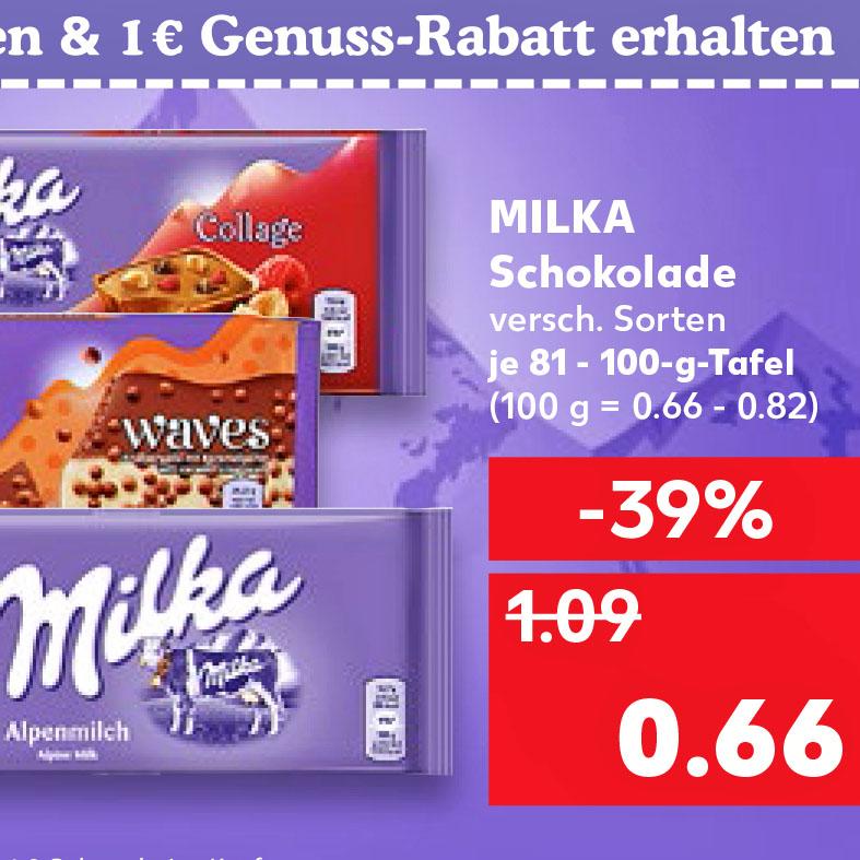 MILKA Tafelschokolade 81-100g, 66 Cent, mit Coupon für nur 53 Cent bei (Kaufland)