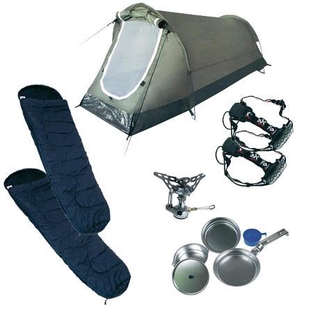 Camping Komplettset: 1xZelt,2Schlafsäcke,2xStirnlampen,Kochgeschirr und Gaskocheraufsatz