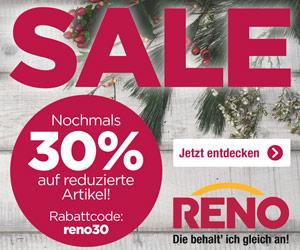 30% extra Rabatt auf bereits reduzierte Artikel + versandkostenfrei im Reno-Sale *Aktion verlängert*