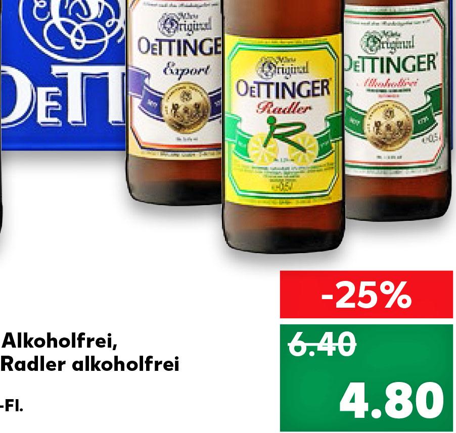 Kaufland Oettinger Pils, Export, Alkoholfrei, Radler und auch MALZ! für nur 4,80 Euro