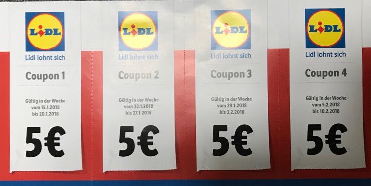 LIDL 4 x 5€ Rabatt Coupon in der Filiale (lokal/Grünberg)