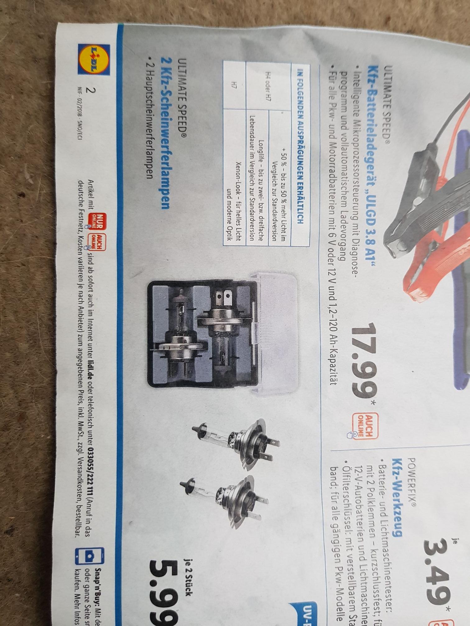 (Lidl) 2 Kfz Scheinwerferlampen H4 oder H7 für 5.99€