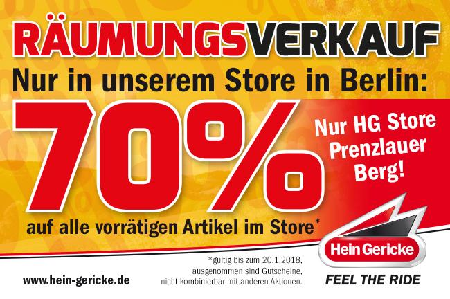 70% auf alles bei Hein Gericke - Lokal Berlin Prenzlauer Berg