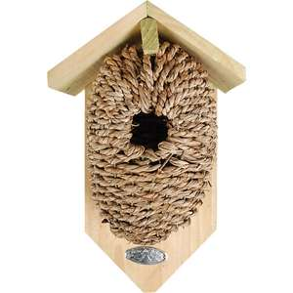 Vögelhaus mit Nestbeutel aus Seegras
