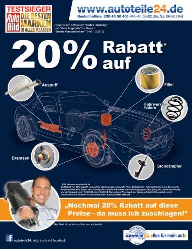 20% Rabatt bei Autoteile24.de