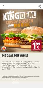(Burger King) Big King oder Crispy Chicken nur 1.99